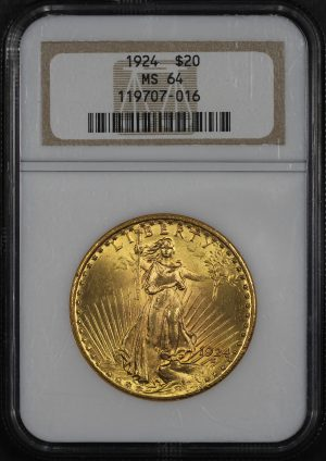 Obverse of this 1924 St. Gaudens $20 NGC MS-64