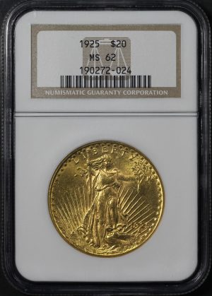 Obverse of this 1925 St. Gaudens $20 NGC MS-62