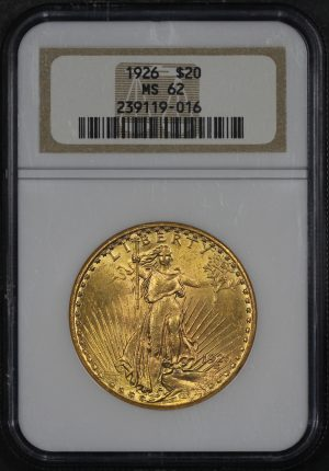 Obverse of this 1926 St. Gaudens $20 NGC MS-62