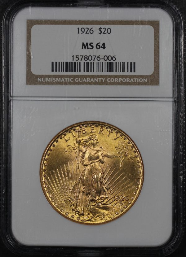 Obverse of this 1926 St. Gaudens $20 NGC MS-64