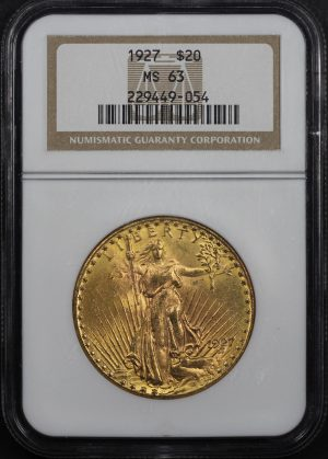 Obverse of this 1927 St. Gaudens $20 NGC MS-63