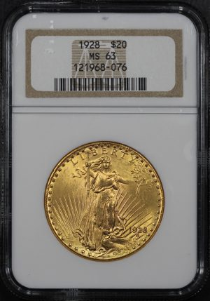 Obverse of this 1928 St. Gaudens $20 NGC MS-63