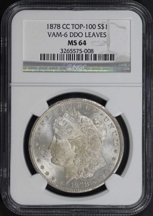 Obverse of this 1878-CC Top-100 Morgan Dollar VAM 6 Ddo Leaves NGC MS-64