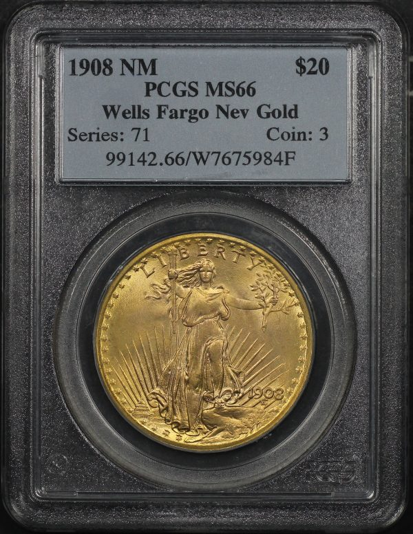 Obverse of this 1908 St. Gaudens $20 No Motto PCGS MS-66 Wells Fargo