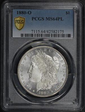 Obverse of this 1880-O Morgan Dollar PCGS MS-64 PL