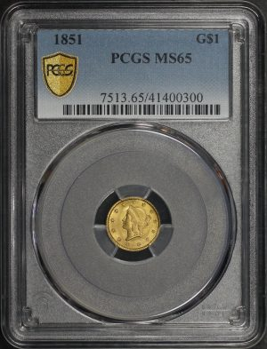 Obverse of this 1851 Gold Dollar Type 1 PCGS MS-65