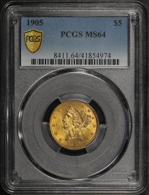Obverse of this 1905 Liberty Head $5 PCGS MS-64