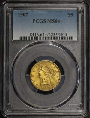 Obverse of this 1907 Liberty Head $5 PCGS MS-64+