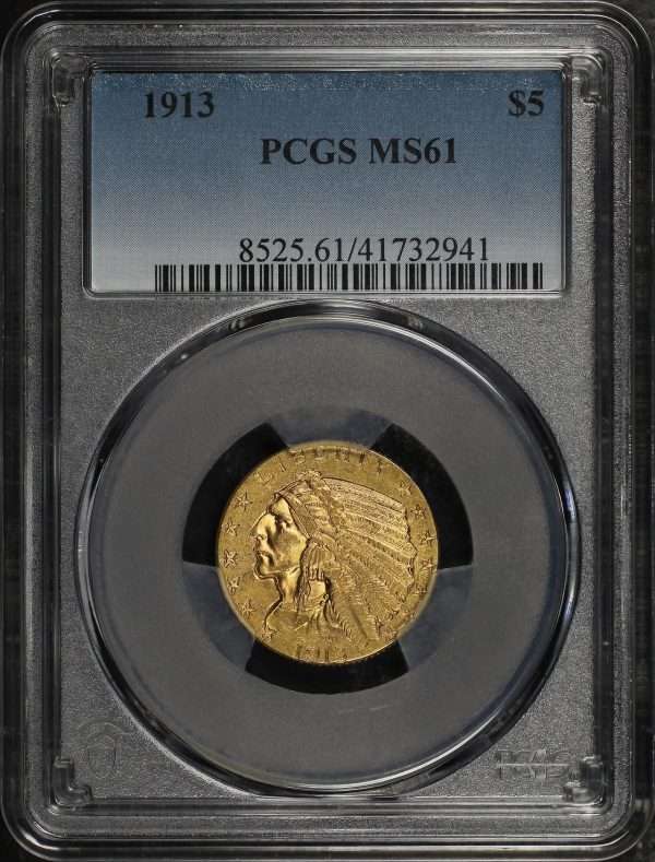 Obverse of this 1913 Indian $5 PCGS MS-61