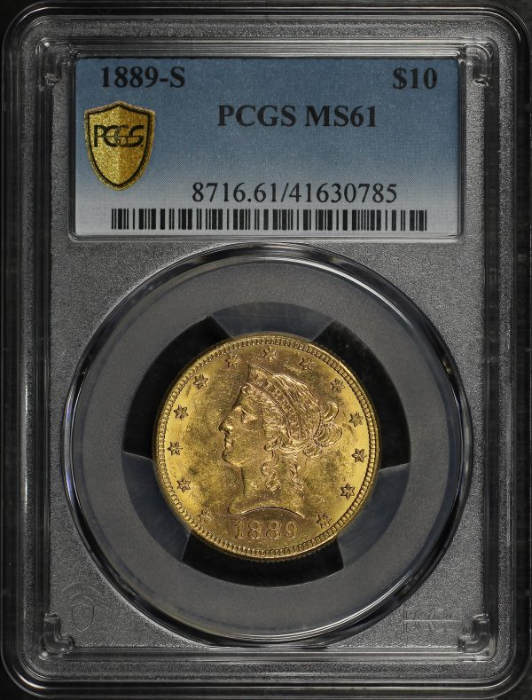 Obverse of this 1889-S Liberty Head $10 PCGS MS-61