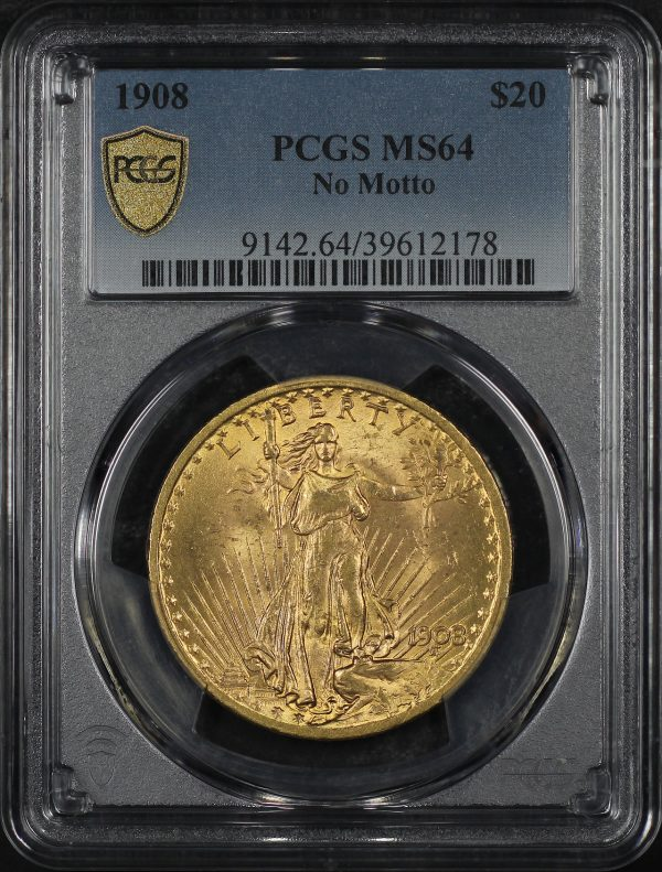 Obverse of this 1908 St. Gaudens $20 No Motto PCGS MS-64