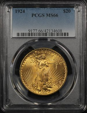 Obverse of this 1924 St. Gaudens $20 PCGS MS-66