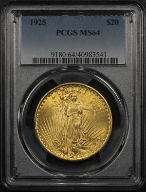 Obverse of this 1925 St. Gaudens $20 PCGS MS-64