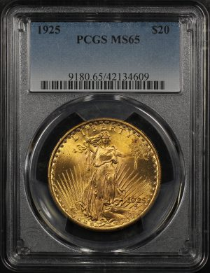 Obverse of this 1925 St. Gaudens $20 PCGS MS-65