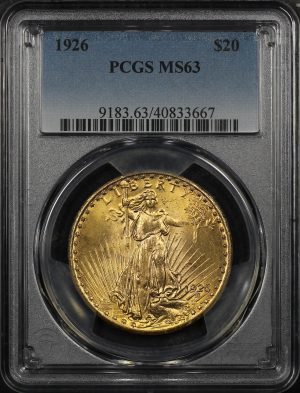 Obverse of this 1926 St. Gaudens $20 PCGS MS-63