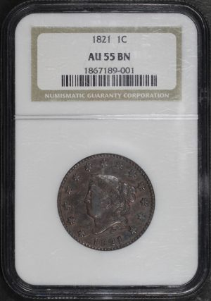 Obverse of this 1821 Coronet Head Cent NGC AU-55 BN