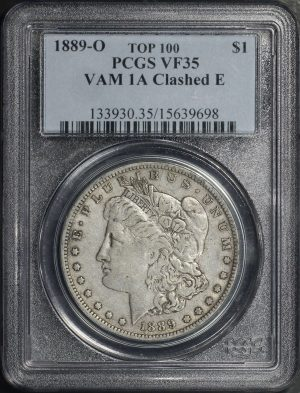 Obverse of this 1889-O Top 100 Morgan Dollar VAM 1A PCGS VF-35
