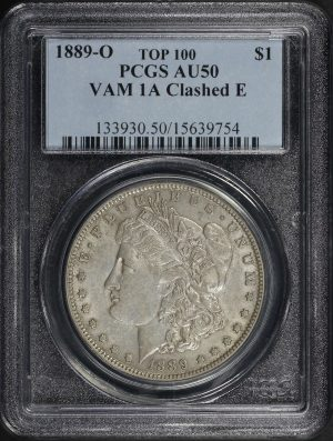 Obverse of this 1889-O Morgan Dollar PCGS AU-50 VAM 1A