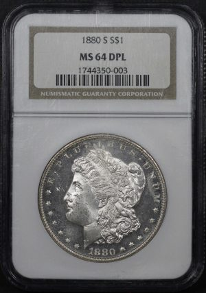 Obverse of this 1880-S Morgan Dollar NGC MS-64 DPL