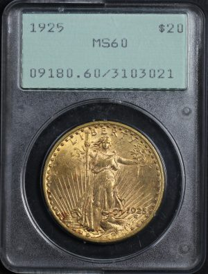 Obverse of this 1925 St. Gaudens $20 PCGS MS-60