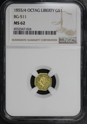 Obverse of this 1855/4 OCTAG Liberty California Fractional Gold BG 511 NGC MS-62
