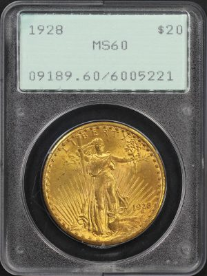 Obverse of this 1928 St. Gaudens $20 PCGS MS-60