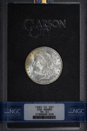 Obverse of this 1883-CC Morgan Dollar NGC MS-63 GSA Hard Pack With Box