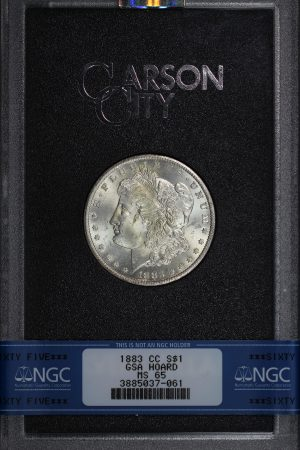Obverse of this 1883-CC Morgan Dollar NGC MS-65 GSA Hard Pack With Box & COA