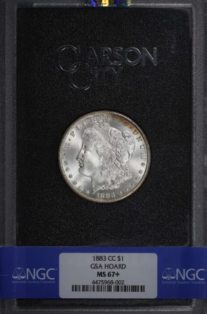Obverse of this 1883-CC Morgan Dollar Gsa Hoard NGC MS-67+ With Box & COA