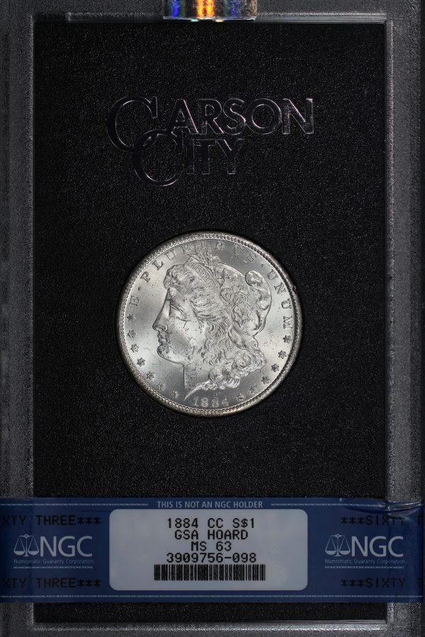 Obverse of this 1884-CC Morgan Dollar NGC MS-63 GSA Hard Pack With Box