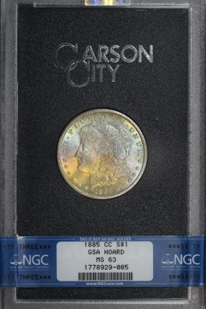 Obverse of this 1885-CC Morgan Dollar NGC MS-63 GSA Hard Pack With Box
