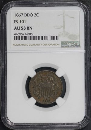 Obverse of this 1867 DDO Two Cent FS 101 NGC AU-53 BN