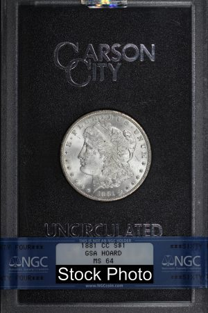 Obverse of this 1881-CC Morgan DollarNGC MS-64 GSA Hard Pack With Box & Dated COA
