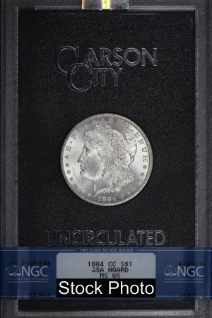 Obverse of this 1884-CC Morgan DollarNGC MS-65 GSA Hard Pack With Box & Dated COA
