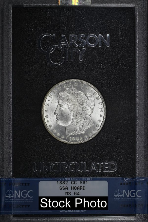Obverse of this 1882-CC Morgan Dollar NGC MS-64 GSA Hard Pack With Box & Dated COA