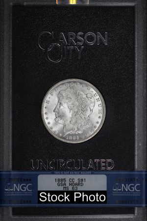 Obverse of this 1885-CC Morgan DollarNGC MS-63 GSA Hard Pack With Box & Dated COA