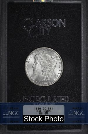 Obverse of this 1880-CC Morgan DollarNGC MS-65 GSA Hard Pack With Box & Dated COA