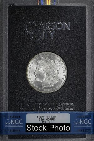 Obverse of this 1882-CC Morgan DollarNGC MS-65 GSA Hard Pack With Box & Dated COA
