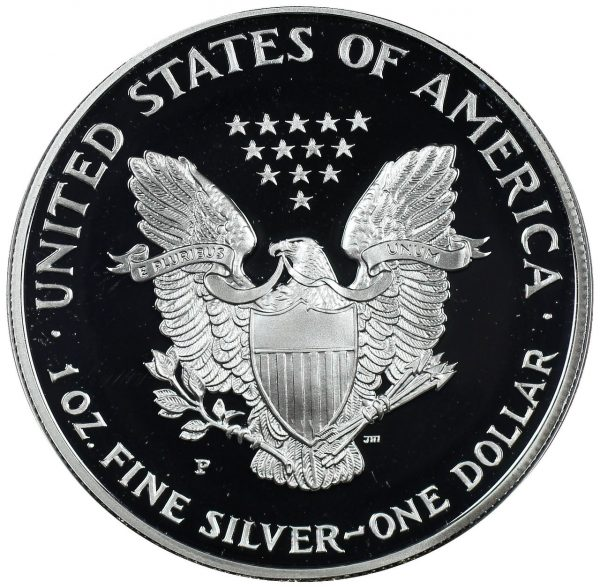 Reverse of this 1993-P American Silver Eagle Proof