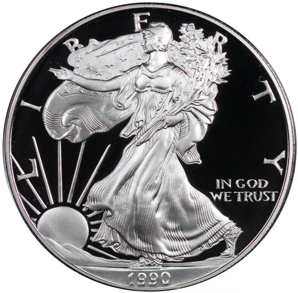 Obverse of this 1990-S American Silver Eagle Proof