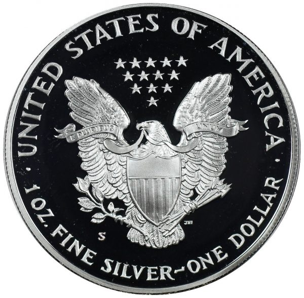 Reverse of this 1990-S American Silver Eagle Proof