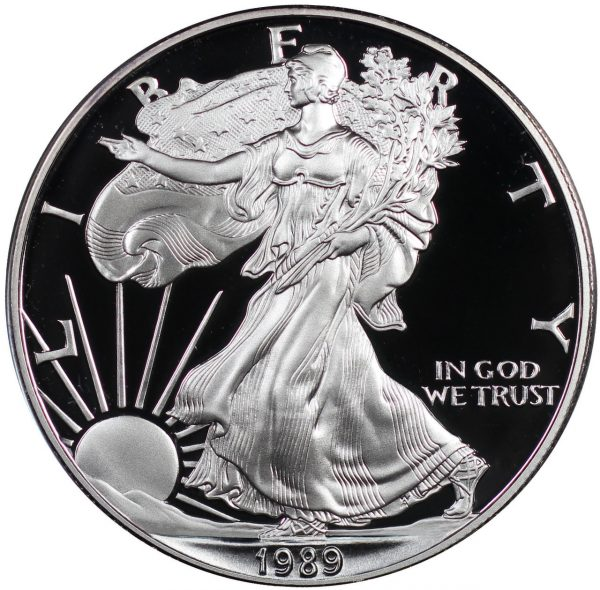 Obverse of this 1989-S American Silver Eagle Proof
